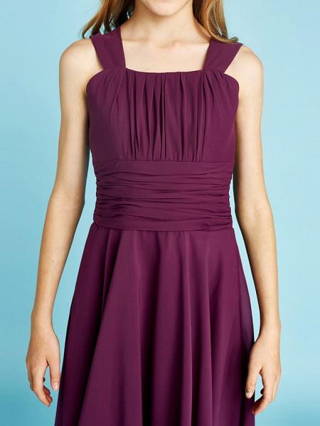 A-Line Straps Knee Length Chiffon Junior Bridesmaid Dress With Sash / Ribbon / Ruched / Draping / Natural_10