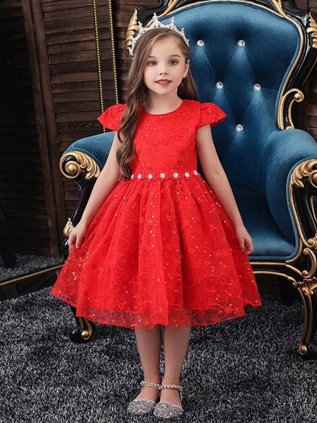 Princess / Ball Gown Knee Length Wedding / Party Flower Girl Dresses - Tulle Cap Sleeve Jewel Neck With Sash / Ribbon / Bow(S) / Embroidery_1