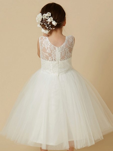 Princess Tea Length Wedding / First Communion Flower Girl Dresses - Lace / Tulle Sleeveless Jewel Neck With Lace_5