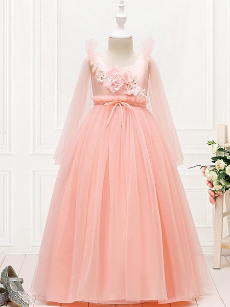 Princess / Ball Gown Floor Length Wedding / Party Flower Girl Dresses - Tulle Long Sleeve Jewel Neck With Bow(S) / Flower_1