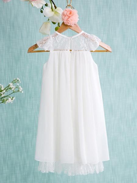 A-Line Short / Mini Wedding / First Communion / Holiday Flower Girl Dresses - Chiffon Sleeveless Jewel Neck With Lace / Pleats_2