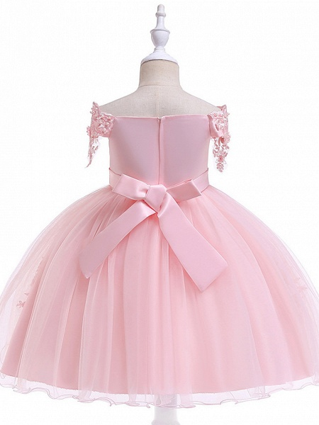 Princess Above Knee Wedding / Party / Pageant Flower Girl Dresses - Satin / Tulle Short Sleeve Off Shoulder With Lace / Beading / Appliques_6