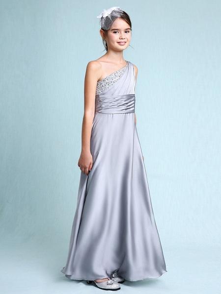 Sheath / Column One Shoulder Floor Length Chiffon Satin Junior Bridesmaid Dress With Ruched / Side Draping / Natural_3