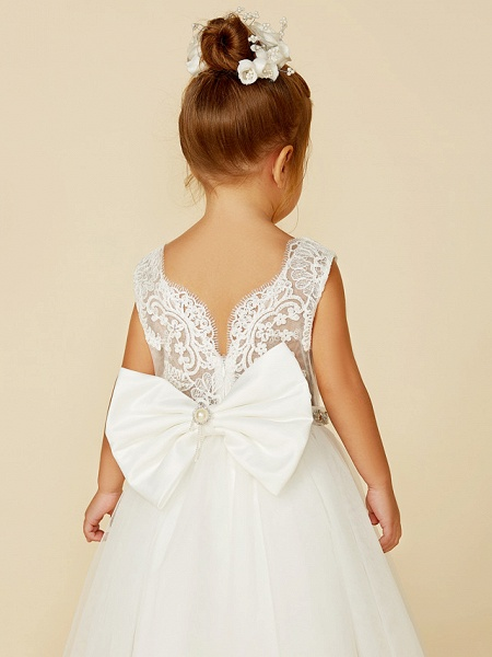Princess Floor Length Wedding / First Communion Flower Girl Dresses - Lace / Tulle Sleeveless Jewel Neck With Lace / Sash / Ribbon / Bow(S)_8