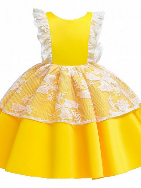 Princess / Ball Gown Knee Length Wedding / Party Flower Girl Dresses - Satin / Tulle Cap Sleeve Jewel Neck With Bow(S) / Color Block_9