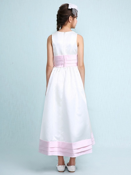 Princess / A-Line Jewel Neck Knee Length Satin Junior Bridesmaid Dress With Sash / Ribbon / Ruched / Ruffles / Spring / Summer / Fall / Winter / Wedding Party_2