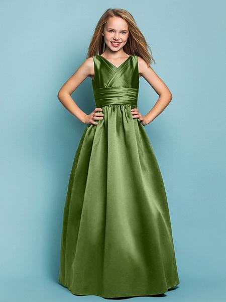 Princess / A-Line V Neck Floor Length Satin Junior Bridesmaid Dress With Sash / Ribbon / Criss Cross / Spring / Summer / Fall / Apple / Hourglass_39