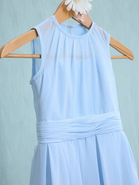Sheath / Column Jewel Neck Knee Length Chiffon Junior Bridesmaid Dress With Ruched / Natural_4