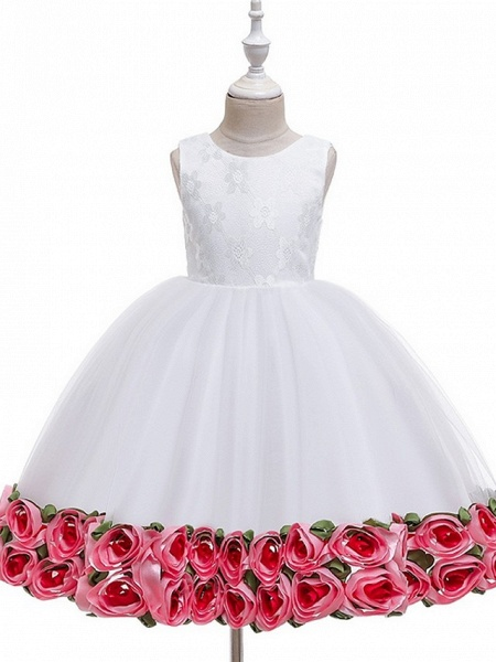 Princess / Ball Gown Knee Length Wedding / Party Flower Girl Dresses - Tulle Sleeveless Jewel Neck With Bow(S) / Pattern / Print / Flower_6