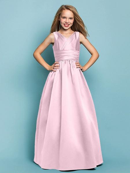 Princess / A-Line V Neck Floor Length Satin Junior Bridesmaid Dress With Sash / Ribbon / Criss Cross / Spring / Summer / Fall / Apple / Hourglass_9