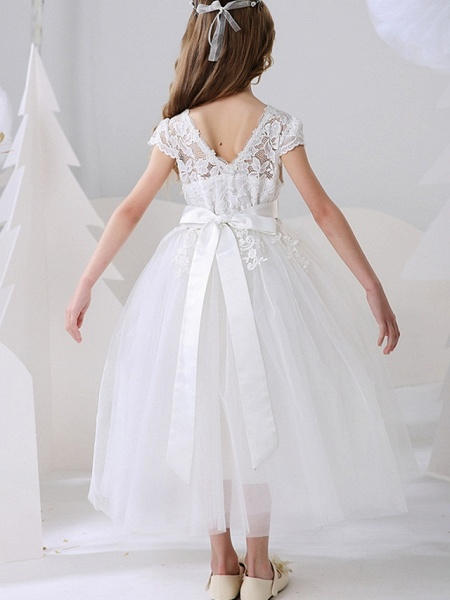 Ball Gown Ankle Length Event / Party / Birthday Flower Girl Dresses - Polyester Short Sleeve Jewel Neck With Bow(S) / Appliques_6