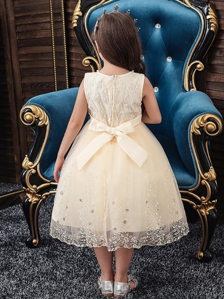 Princess / Ball Gown Knee Length Wedding / Party Flower Girl Dresses - Tulle Sleeveless Jewel Neck With Sash / Ribbon / Bow(S) / Beading_4