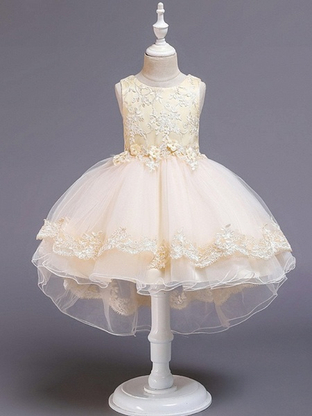 Princess / Ball Gown Knee Length Wedding / Party Flower Girl Dresses - Tulle Sleeveless Jewel Neck With Bow(S) / Appliques_5
