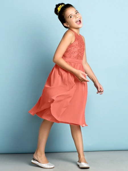 A-Line Jewel Neck Knee Length Chiffon / Lace Junior Bridesmaid Dress With Lace / Natural / Mini Me_31