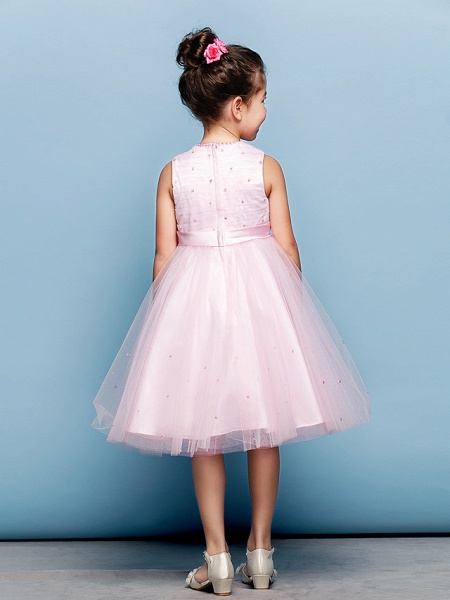Ball Gown Mini Me Cocktail Party Dress Straps Sleeveless Knee Length Tulle With Sash / Ribbon Bow(S) Beading_8