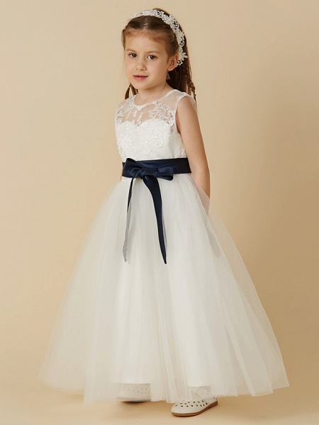 A-Line Ankle Length Wedding / First Communion Flower Girl Dresses - Lace / Tulle Sleeveless Jewel Neck With Sash / Ribbon / Bow(S) / Buttons_3