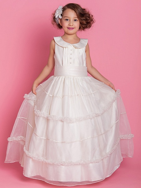 Ball Gown / A-Line Floor Length First Communion / Wedding Party Organza / Satin Sleeveless Jewel Neck With Buttons / Ruched / Ruffles / Spring / Fall / Winter_2