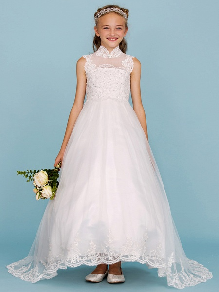 Ball Gown High Neck Sweep / Brush Train Lace / Satin Junior Bridesmaid Dress With Beading / Appliques / Wedding Party_5