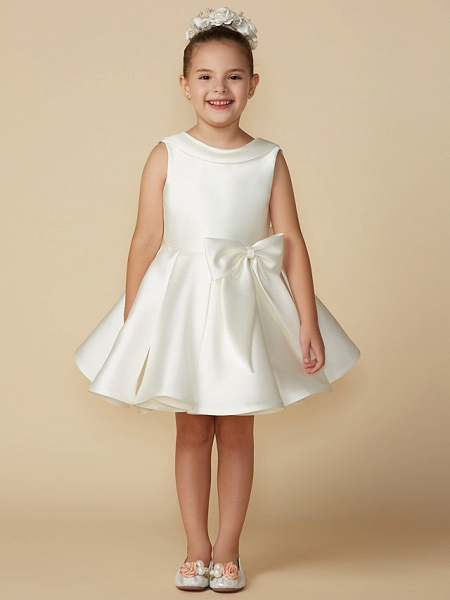 Princess Above Knee Wedding / First Communion Satin Sleeveless Jewel Neck With Bows_1