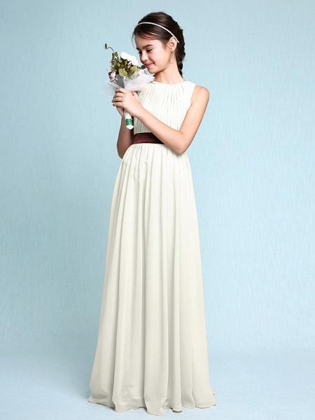 Sheath / Column Scoop Neck Floor Length Chiffon Junior Bridesmaid Dress With Draping / Natural_21