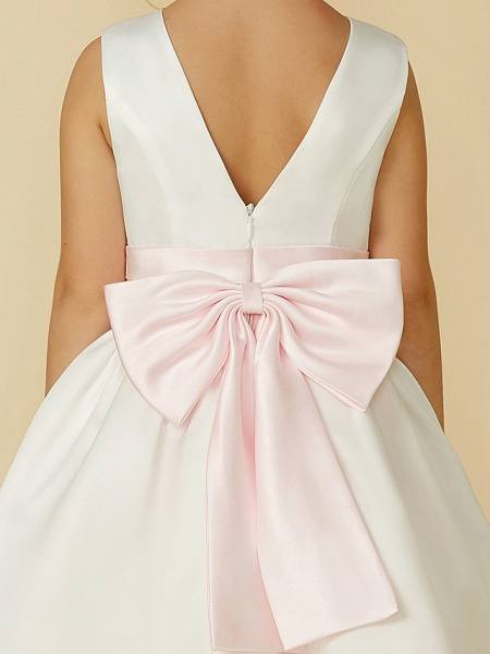A-Line Tea Length Wedding / First Communion Flower Girl Dresses - Satin Sleeveless Jewel Neck With Sash / Ribbon / Bow(S)_9