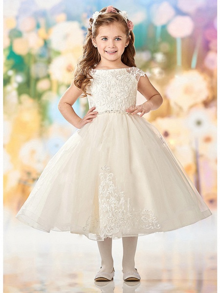 A-Line Ankle Length Wedding / Party Flower Girl Dresses - Lace / Tulle Sleeveless Jewel Neck With Embroidery / Appliques_3