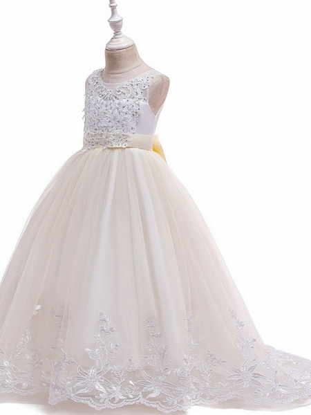 Princess / Ball Gown Court Train Wedding / Party Flower Girl Dresses - Tulle Sleeveless Jewel Neck With Bow(S) / Beading / Appliques_7