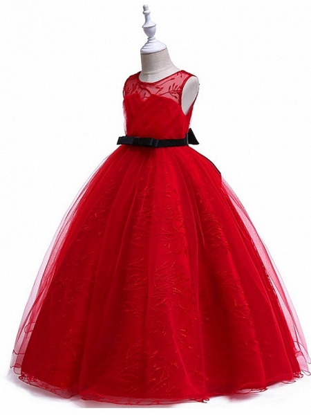 Princess Round Floor Length Cotton Junior Bridesmaid Dress With Bow(S) / Embroidery_5