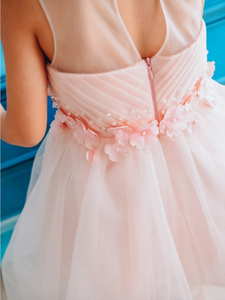 Ball Gown Knee Length Wedding / Birthday / Pageant Flower Girl Dresses - Tulle Sleeveless Jewel Neck With Petal / Pearls_4