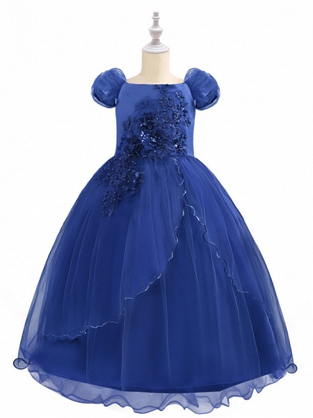 Princess Maxi Birthday / Pageant Flower Girl Dresses - Chiffon / Tulle Short Sleeve Boat Neck With Beading / Appliques / Paillette_3