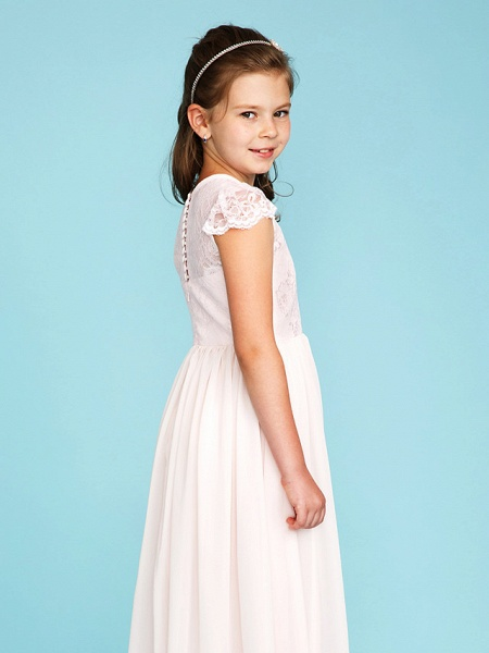 Princess / A-Line Crew Neck Floor Length Chiffon / Lace Junior Bridesmaid Dress With Buttons / Pleats / Wedding Party / See Through_7