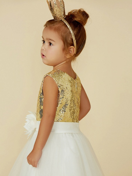 Princess Knee Length Pageant Flower Girl Dresses - Tulle / Sequined Sleeveless Jewel Neck With Sash / Ribbon / Bow(S) / Flower_7