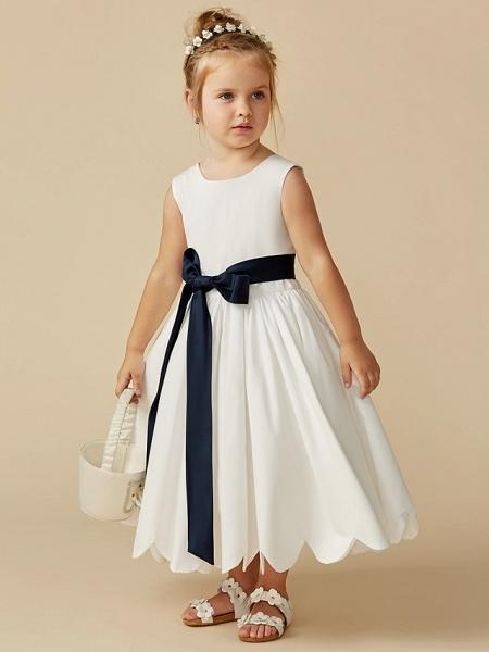 A-Line Tea Length Wedding / First Communion Flower Girl Dresses - Taffeta Sleeveless Jewel Neck With Sash / Ribbon / Pleats_6