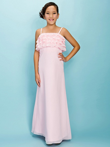 A-Line / Sheath / Column Spaghetti Strap Floor Length Chiffon Junior Bridesmaid Dress With Pleats / Ruffles / Spring / Fall / Winter / Apple / Hourglass_1