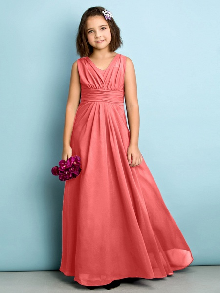 A-Line V Neck Floor Length Chiffon Junior Bridesmaid Dress With Criss Cross / Natural / Mini Me_12