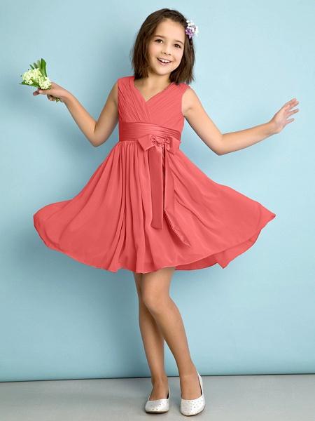 A-Line V Neck Knee Length Chiffon Junior Bridesmaid Dress With Bow(S) / Criss Cross / Natural_12