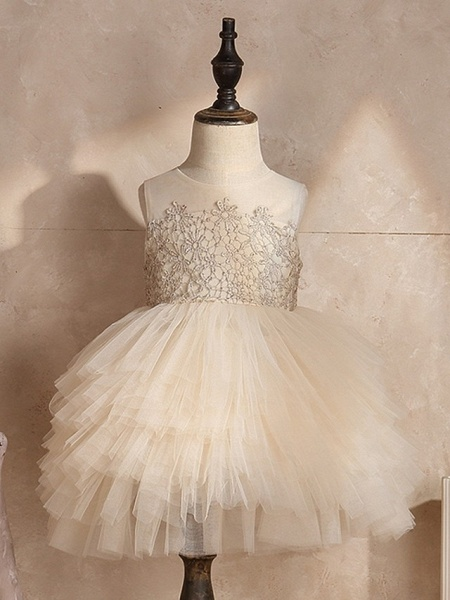 Ball Gown Knee Length Pageant Flower Girl Dresses - Polyester Sleeveless Jewel Neck With Pick Up Skirt / Appliques_2