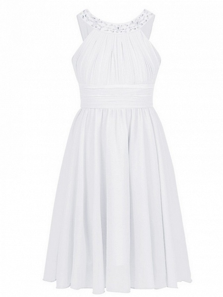 A-Line Round Tea Length Chiffon Junior Bridesmaid Dress With Beading / Ruching_3