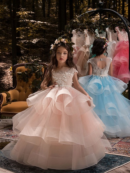 Ball Gown Sweep / Brush Train Birthday / Pageant Flower Girl Dresses - Lace / Organza / Tulle Short Sleeve Boat Neck With Heart / Belt / Beading_1