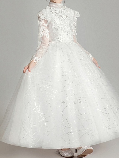 Ball Gown Ankle Length First Communion Flower Girl Dresses - Polyester Long Sleeve High Neck With Appliques_4