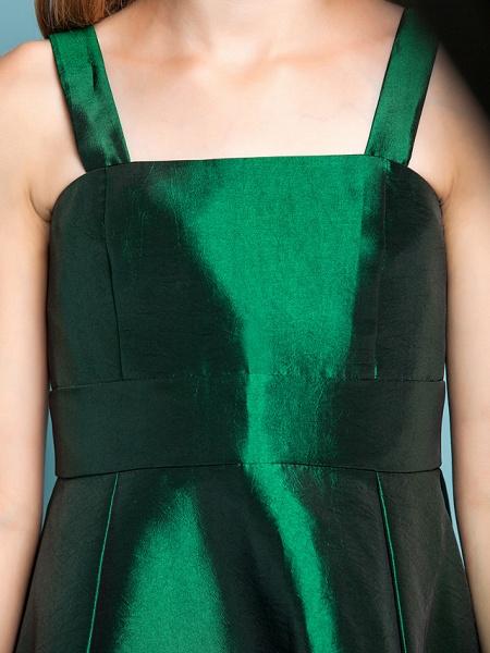 A-Line Straps Asymmetrical Taffeta Junior Bridesmaid Dress With Sash / Ribbon / Spring / Summer / Fall / Apple / Hourglass_7