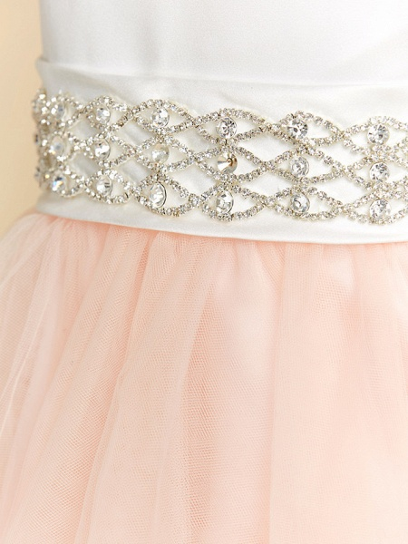 Ball Gown Tea Length Wedding / Party / Pageant Flower Girl Dresses - Satin / Tulle Sleeveless V Neck With Sash / Ribbon / Crystals_4