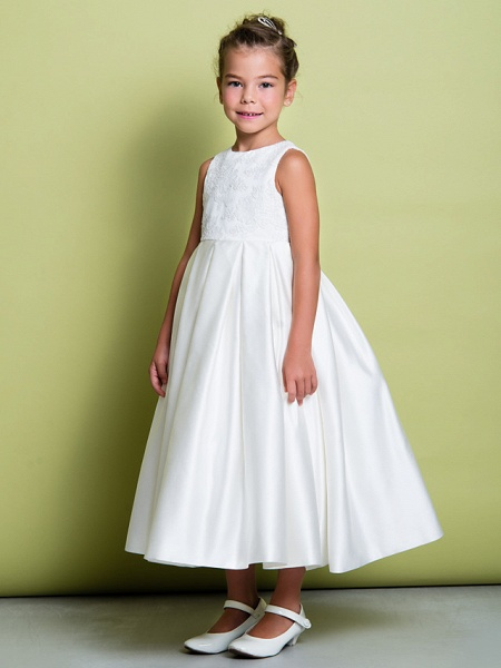 A-Line Ankle Length Wedding / First Communion Flower Girl Dresses - Lace / Satin Sleeveless Jewel Neck With Lace_5