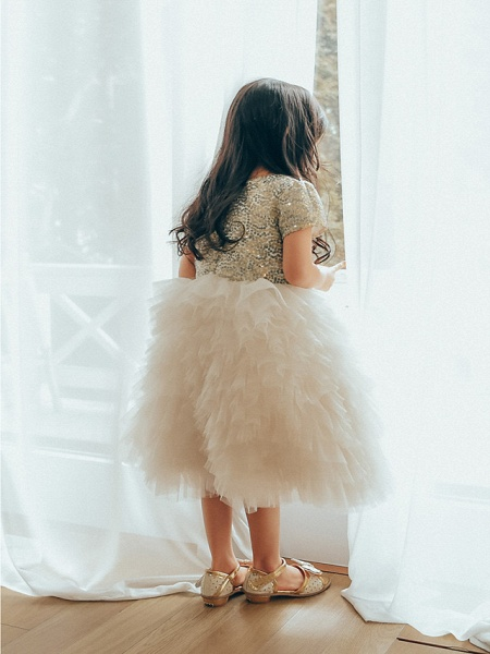 Ball Gown Ankle Length Wedding / Birthday / Pageant Flower Girl Dresses - Tulle / Sequined Short Sleeve Jewel Neck With Paillette_4