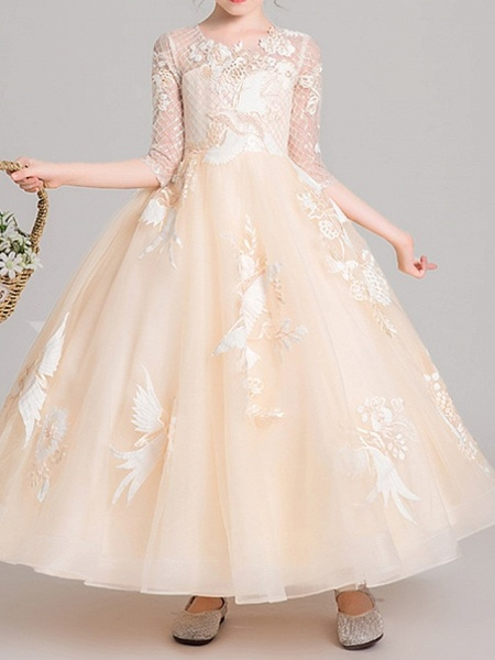 Ball Gown Ankle Length Pageant Flower Girl Dresses - Polyester Half Sleeve Jewel Neck With Embroidery / Appliques_3