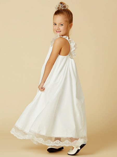 A-Line Ankle Length Wedding / First Communion Flower Girl Dresses - Lace / Cotton Sleeveless Straps With Pleats_5