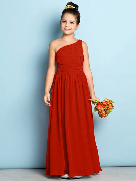 A-Line One Shoulder Ankle Length Chiffon Junior Bridesmaid Dress With Side Draping / Natural / Mini Me_13