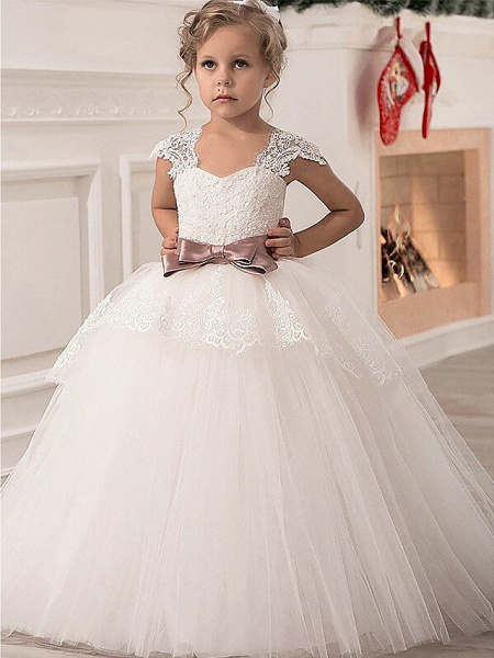 Princess Point Floor Length Lace / Satin / Tulle Junior Bridesmaid Dress With Lace / Sash / Ribbon_1