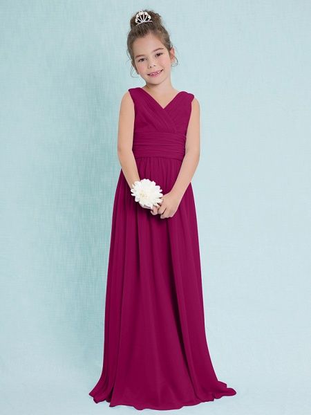 Sheath / Column V Neck Floor Length Chiffon Junior Bridesmaid Dress With Criss Cross / Ruched / Natural_40