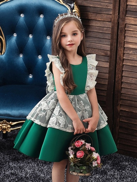 Princess / Ball Gown Knee Length Wedding / Party Flower Girl Dresses - Satin / Tulle Cap Sleeve Jewel Neck With Bow(S) / Color Block_1